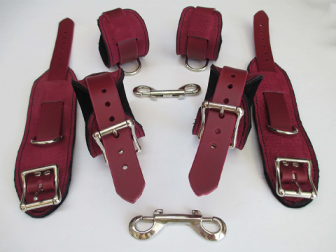 Oxblood Moose Leather  Wrist, Ankle, Upper Arm Restraint Cuffs Set (Six Cuffs)